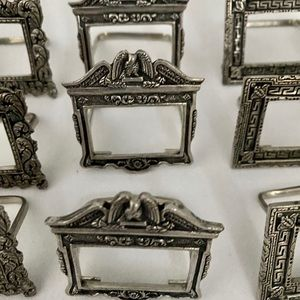 Pewter place card holders set of 12